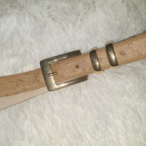 Perry Ellis Ostrich Print Leather Belt